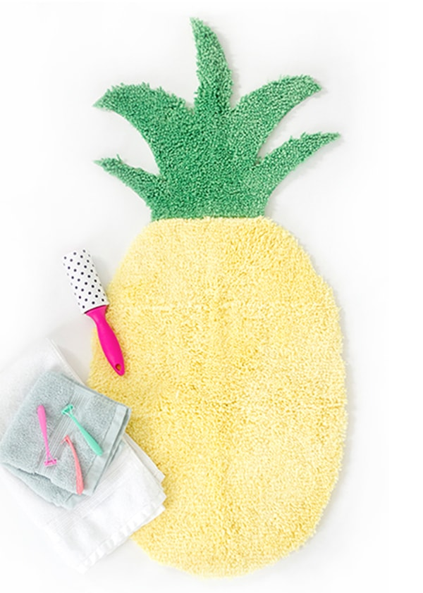Yellow Pineapple Bath mat