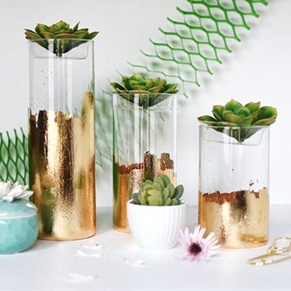 DIY Gold Foil Vase