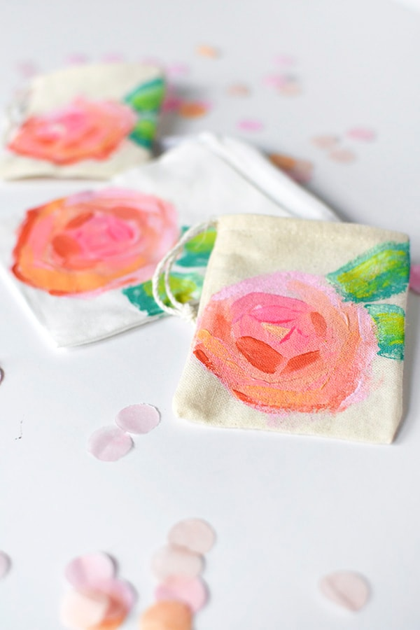 Easy to paint and lovely to use, Mini Peony Painted Bags - Delineate Your Dwelling