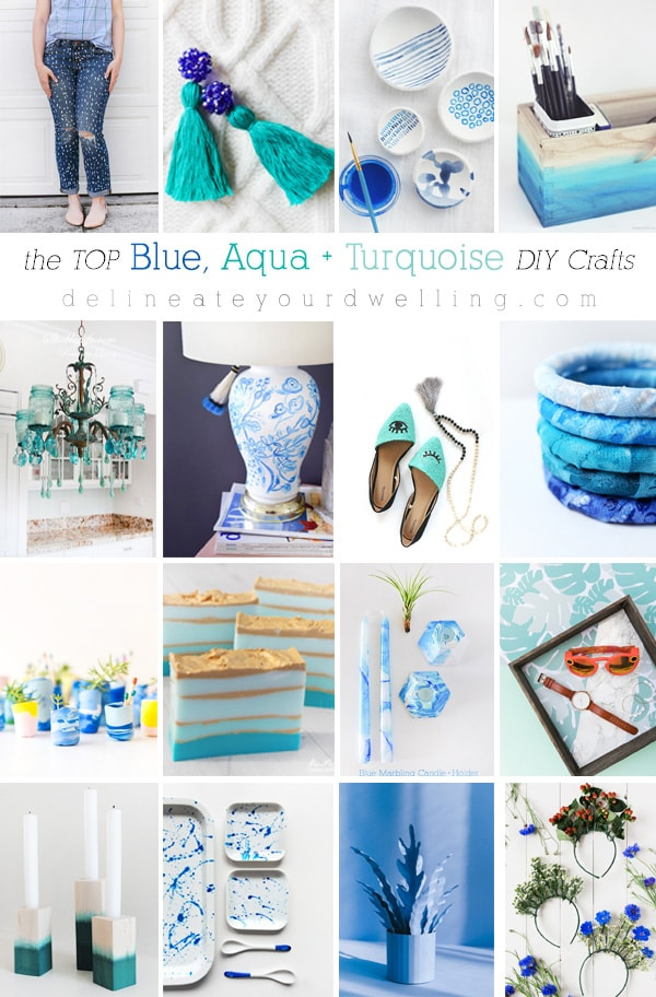 Stunningly gorgeous Blue, Aqua and Turquoise DIY crafts! Including jeans, posts, candles and shoes... a little bit of everything! Delineate Your Dwelling