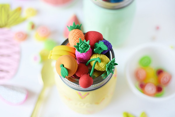 Simple to paint craft, Summer Fruit Mason Jars! Pineapple, Limes and Watermelon mason jars to decorate your next fruit party! Delineate Your Dwelling