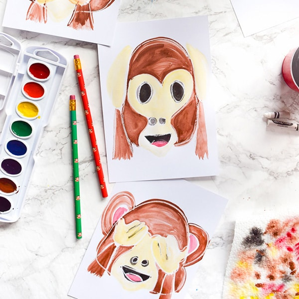 Watercolor Emoji Monkeys