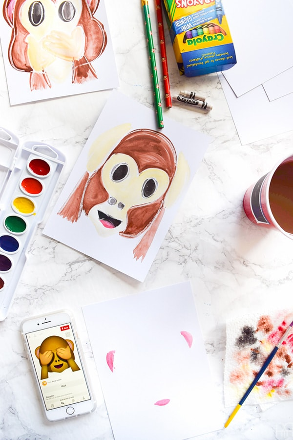Monkey emoji art steps
