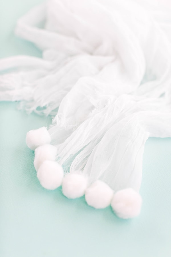 DIY White On White Pom-Pom Scarf-3
