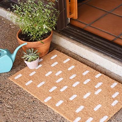 Painted DIY White Dash Doormat