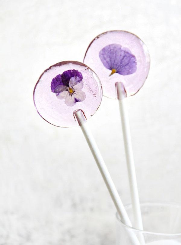 purple flower lollipops pansy