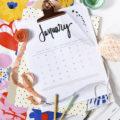 1 2018 FREE Hand Lettered Calendar