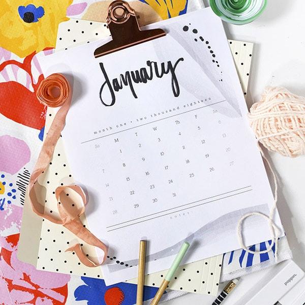2018 Hand Lettered Calendar