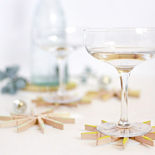 DIY Clothespin Drink Coasters
