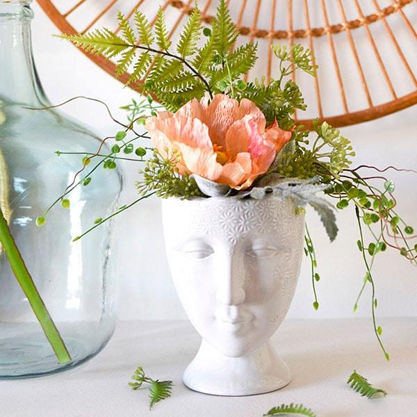 Face Vase with Faux Plants