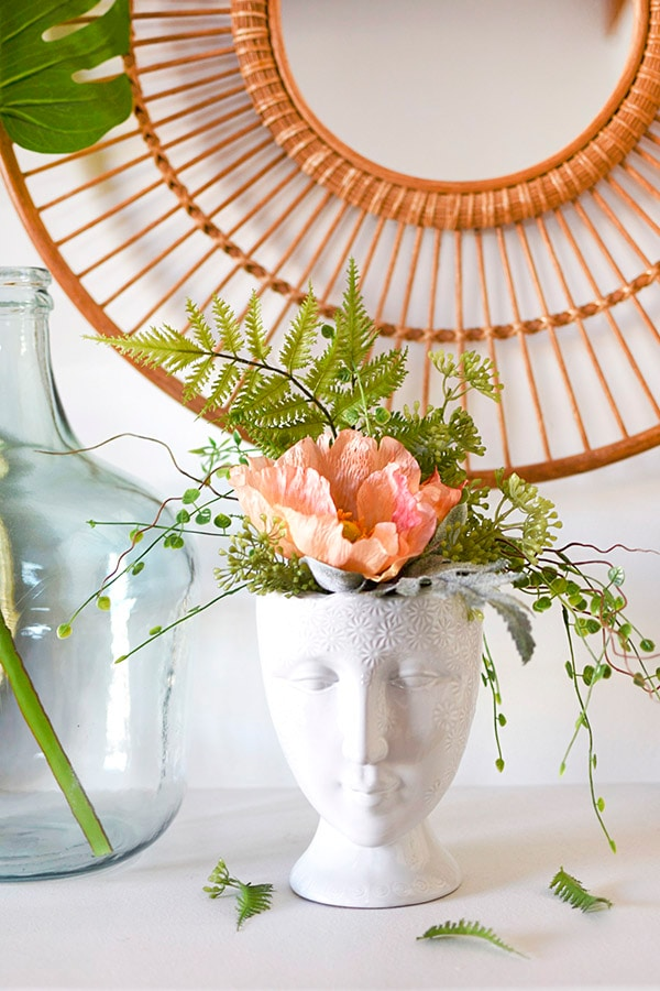 Gorgeous Face Vase Planter with faux flowers, Delineate Your Dwelling